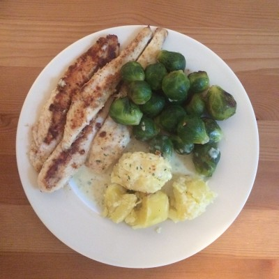 Pangasius Filet mit Rosenkohl und Kartoffeln